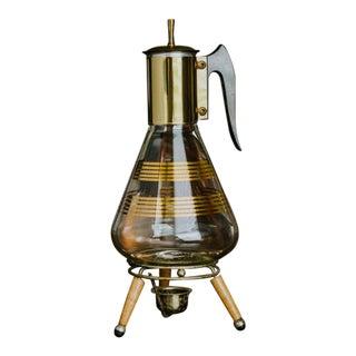 Mid Century Modern Glass & Brass Coffee Carafe For Sale