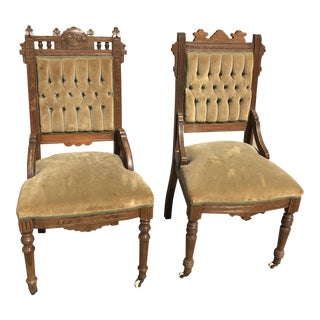 1920s Vintage Eastlake Wooden Chairs- A Pair For Sale