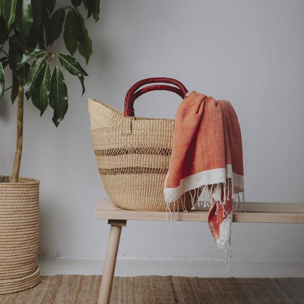 African Bolga Ghana Orange Woven Basket For Sale - Image 3 of 4