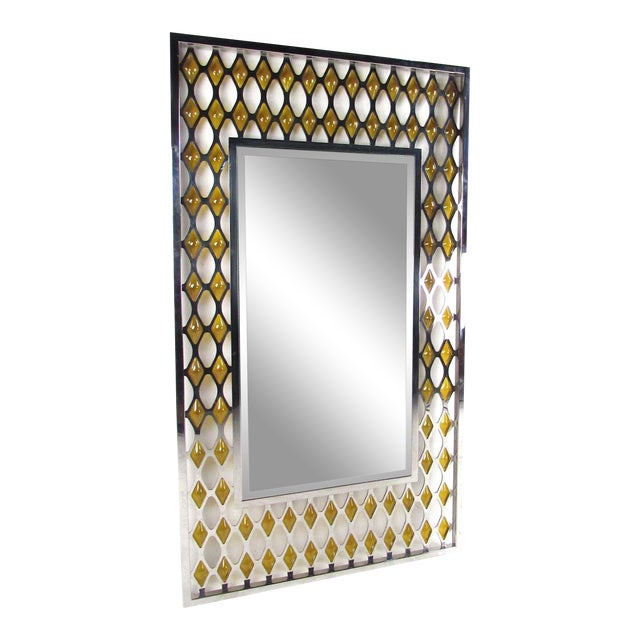 Large Mid-Century Chrome and Amber Blown Glass Mirror For Sale