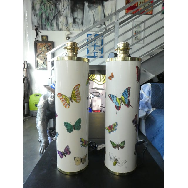 Large Pair of Mid Century Fornasetti Butterfly Lamps sold as found in vintage condition with minimal wear.