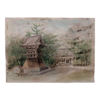 Japanese Architectural Original Watercolor Painting (1 of 4) For Sale