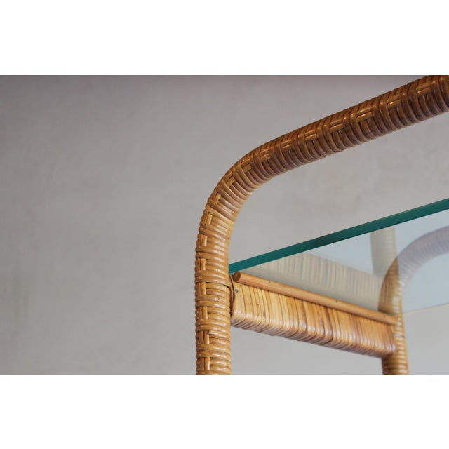 1970s Vintage Milo Baughman Style Italian Rattan Wrapped Cane Bookcase Etagere Wall Unit For Sale - Image 9 of 13