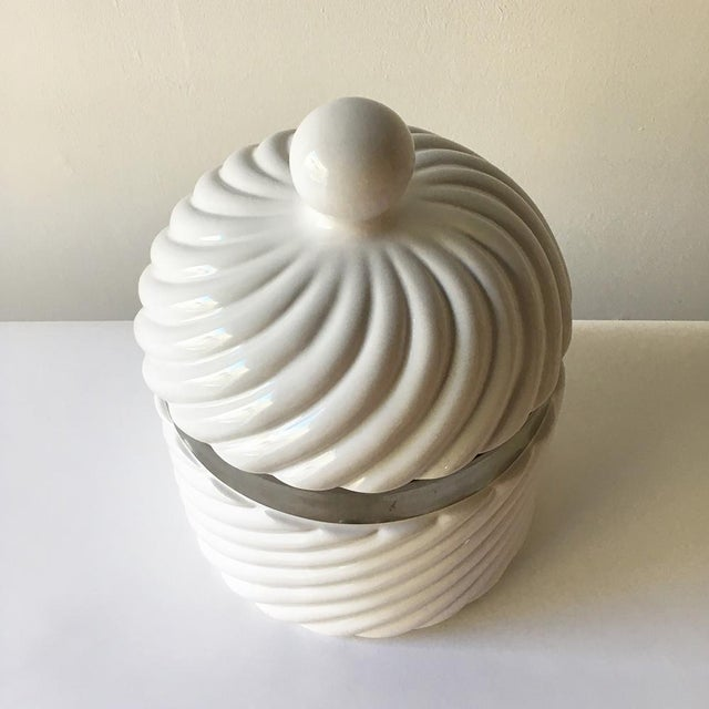 Mid-Century Modern Tommaso Barbi Designed Ceramic Rope Ice Bucket Italy 1970s For Sale - Image 3 of 4