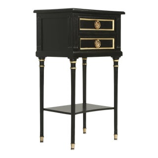 French Pair of Louis XVI Style Ebonized Nightstands or End Tables
