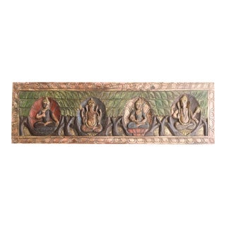 18th Century Asian Antique Hand Carved Buddha Ganesha Headboard For Sale