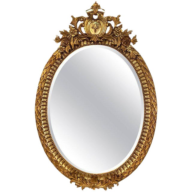 Fine Antique French Oval Gilt Wooden Wall or Console Mirror For Sale