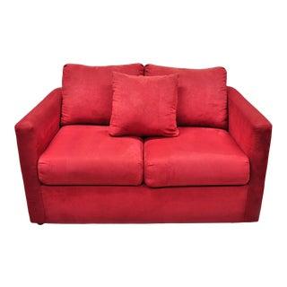 Red Microfiber Single Twin Pullout Leggett & Platt Sofa Bed Loveseat For Sale