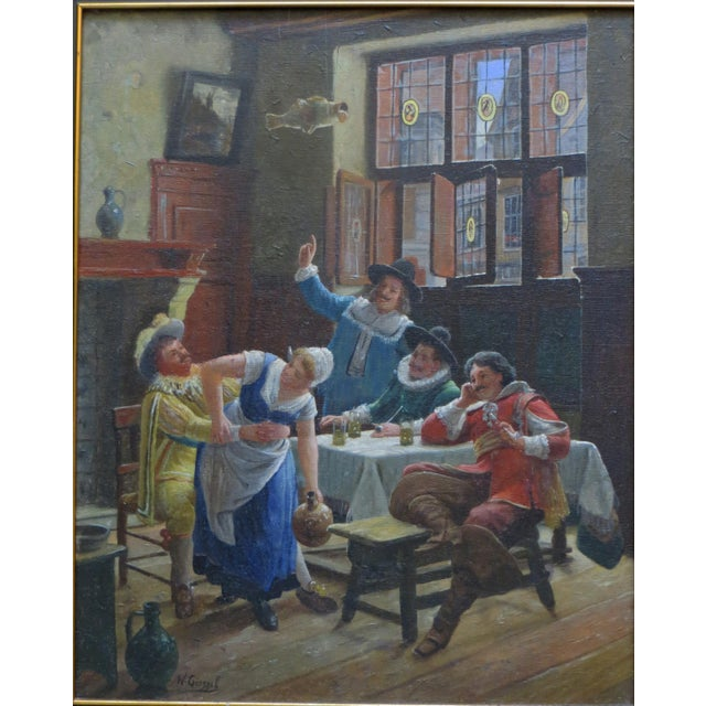 This early 20th century oil painting of a tavern scene evokes the better memories of a time long past. It is by Wilhelm...