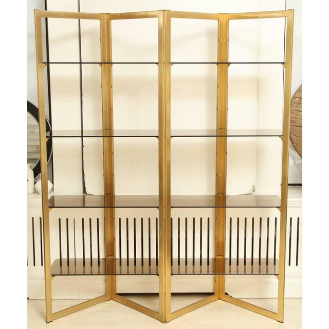 Hollywood Regency Mid-Century Folded Brass Étagère With Four Glass Shelves, France, Circa 1960 For Sale - Image 3 of 8