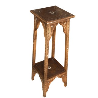 Hand Carved With Mother of Pearl Inlaid Pedestal Table