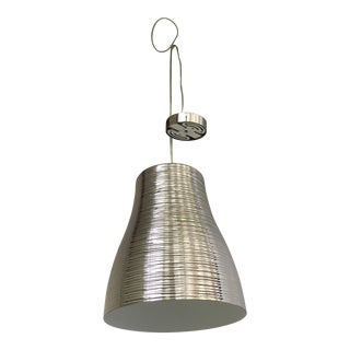 Italian Textured Metal with A Silver Nickel Finish Pendant Light For Sale