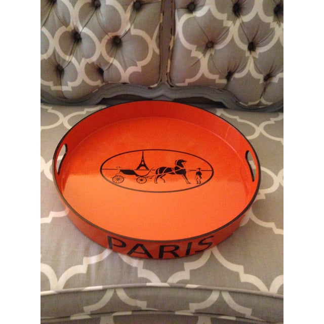 Paint Orange Lacquered Hermes Inspired Bar Tray For Sale - Image 7 of 11