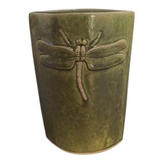 Olive Pottery Dragon Fly Vase