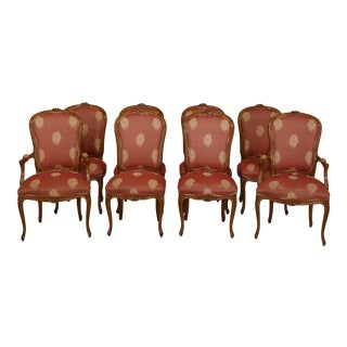 Set of 8 Baker French Louis XV Style Upholstered Dining Room Chairs For Sale