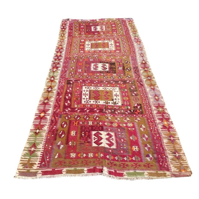 "Vintage Turkish Kilim Runner - 4'8"" x 11'4"" For Sale"