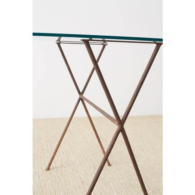 Midcentury Glass Table With Iron X Form Sawhorse Legs For Sale - Image 9 of 13