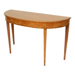 Edwardian Heritage Demi Lune Satinwood Console Table For Sale