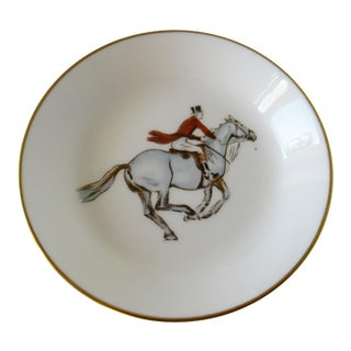 Vintage Royal Worcester English Porcelain Bone Equestrian Ring / Accent Dish For Sale