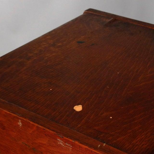 Antique Arts & Crafts Paneled Oak 10-Drawer Filing Cabinet, Yawmen & Erbe For Sale - Image 9 of 10
