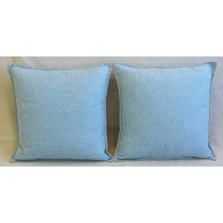 "Sky-Blue Belgian Woven Linen & Cotton Feather/Down Pillows 19"" Square - Pair Preview"