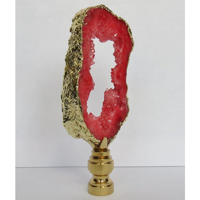 Persimmon Red Geode &14kt Gold Finial - Image 3 of 3