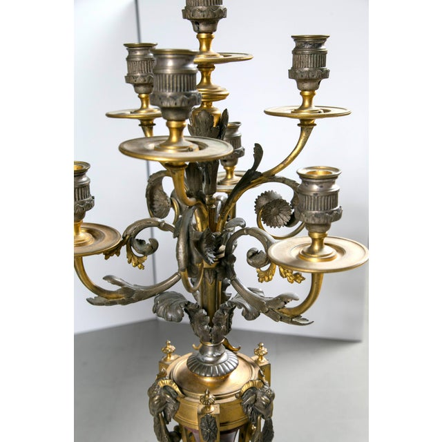 French Gothic Metal Candelabras - a Pair For Sale - Image 4 of 6