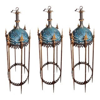 Lanterns - Vintage Rambusch Gothic Ceiling Fixtures - Set of 3 For Sale
