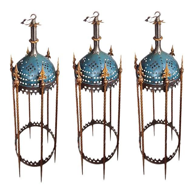 Lanterns - Vintage Rambusch Gothic Ceiling Fixtures - Set of 3 For Sale