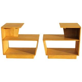 Moderne Oak End Tables - a Pair For Sale