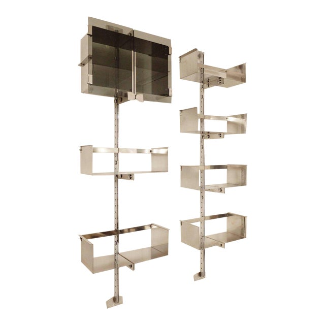 Two Vittorio Introini Chrome Modulable Shelving Systems for Saporiti, Italy 1969 For Sale