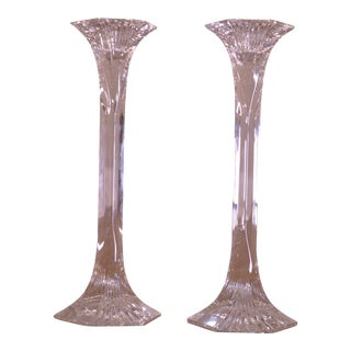 Pair of Crystal Hexagonal Column Candle Holders Flared Base & Top For Sale