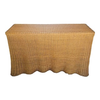"Trompe l'Oeil ""Drape"" Wicker Ghost Console Table For Sale"