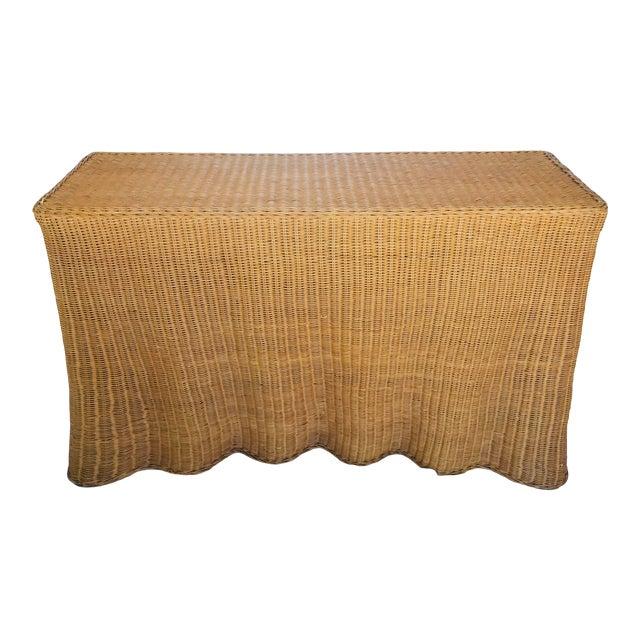"""Trompe l'Oeil """"Drape"""" Wicker Ghost Console Table For Sale"""