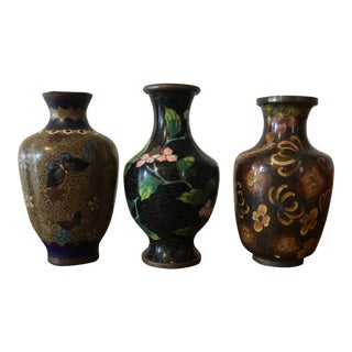 Chinese Cloisonné Small Vases - Set of 3 For Sale