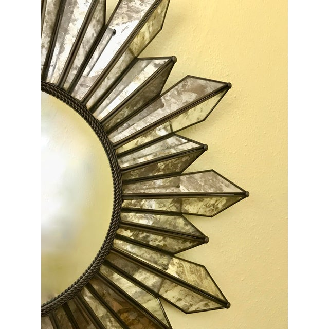 Silver Sunburst Soleil Mirror With Angled Antiqued Mirror Rays For Sale - Image 8 of 9