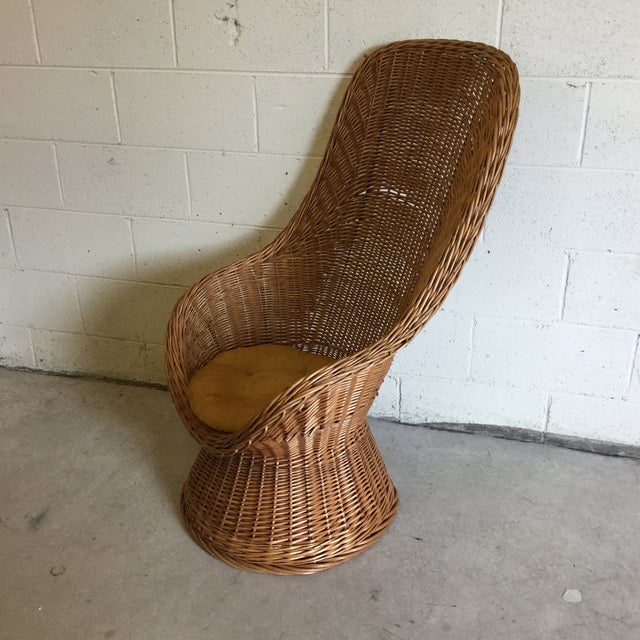 Boho Chic 70s Wicker Lounge Chair For Sale - Image 3 of 10