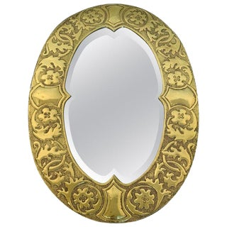 Irish Arts & Crafts Oval Brass Mirror, Attributed to the Glasgow School For Sale