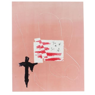 Minimalist Pink and White Monotype on Paper For Sale