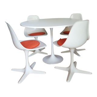 1950s Mid-Century Modern Saarinen Table and Burke Chair Set - 5 Pieces