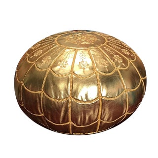 Full Arch Gold Moroccan Pouf Ottoman Cover For Sale