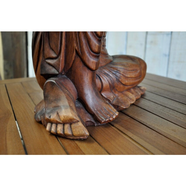 Hand Carved Thinking Buddha Statue Suar Wood Sculpture Bali Art For Sale - Image 11 of 11
