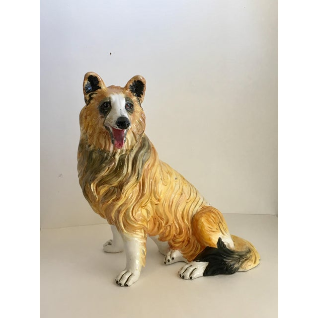 A fun and unusual Italian Ceramic Lassie dog Statue. These Italian statues depicting animals are so great to add a bit of...