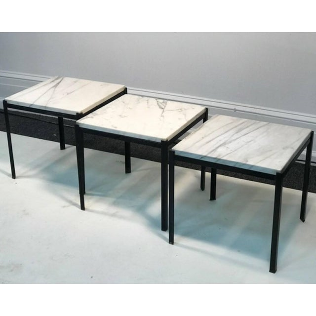 1970s 1970s Mid-Century Modern Marble Top Nesting Tables - Set of 3 For Sale - Image 5 of 6
