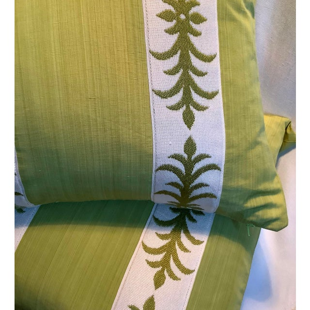 Bright Green Contemporary Pillow Covers in Clarence House Fabric - A Pair For Sale - Image 8 of 10