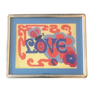 Vintage Hand Done Love Needlepoint For Sale