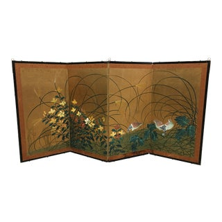Vintage Painted Folding Screen With Florals & Birds For Sale