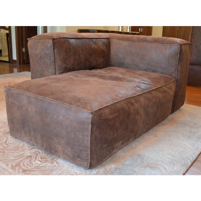 Contemporary Modern Restoration Hardware Distressed Leather Sectional For Sale - Image 3 of 11