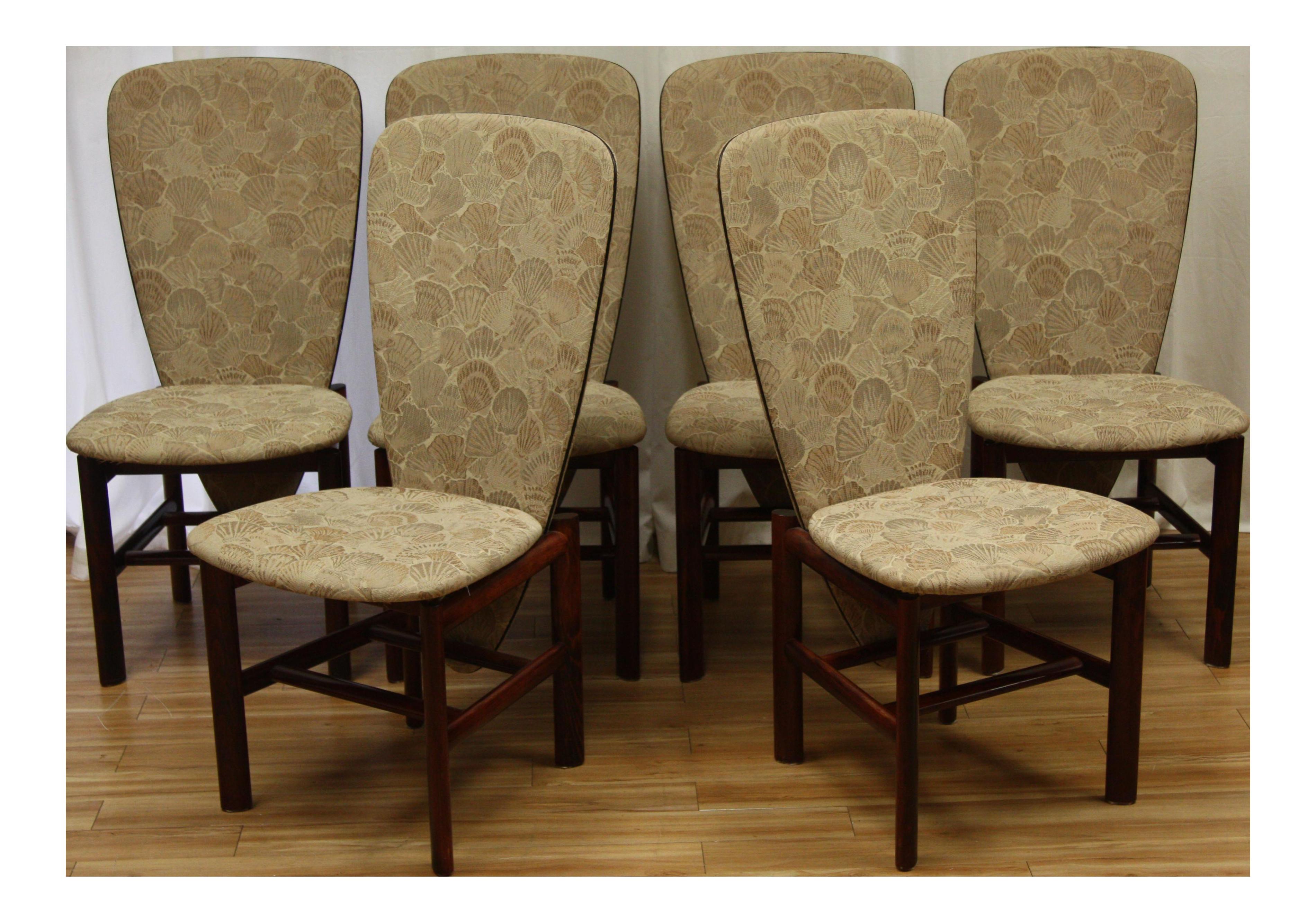 Skovby Danish Rosewood Seashell Dining Chairs   Set Of 6