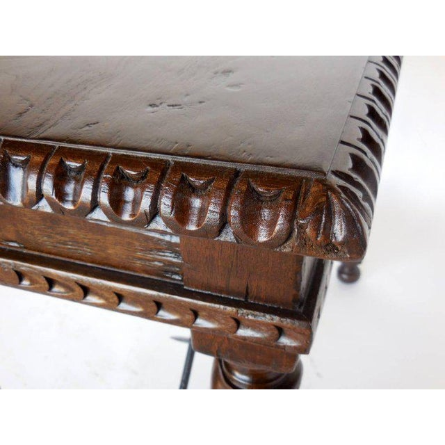 Mediterranean Custom Hand-Carved Walnut Writing Desk with Pencil Drawer For Sale - Image 3 of 7